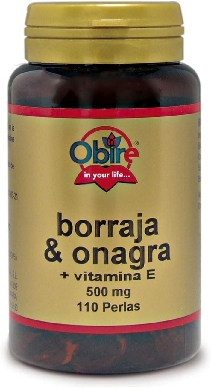 Obire | Borraja y Onagra 500 mg | Ayuda a Reducir el Colesterol y Mejora tu Piel | Alivia la Tos y otros Síntomas Respiratorios | Con Flavonoides, Ácidos Grasos y GLA | 110 Perlas