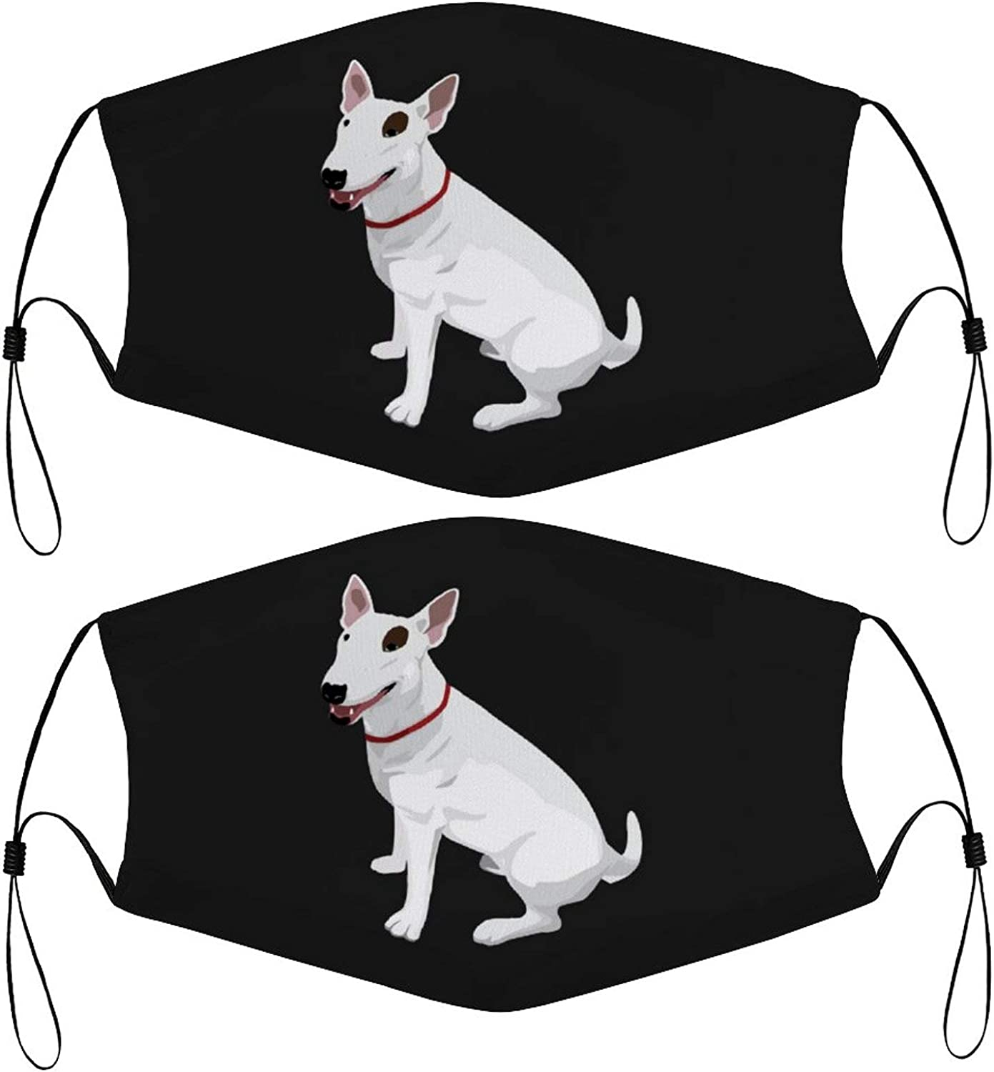 Bull Dog Terrier Kids Face Masks Set of 2 with 4 Filters Washable Reusable Breathable Black Cloth Bandanas Scarf for Unisex Boys Girls