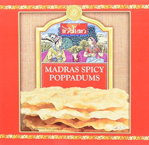 TRULY INDIAN Madras spicy poppadums – Indisches Fladenbrot aus Linsenmehl –  Mit schwarzem Pfeffer gewürzt – Als Beilage oder Snack – 12 x 112 g