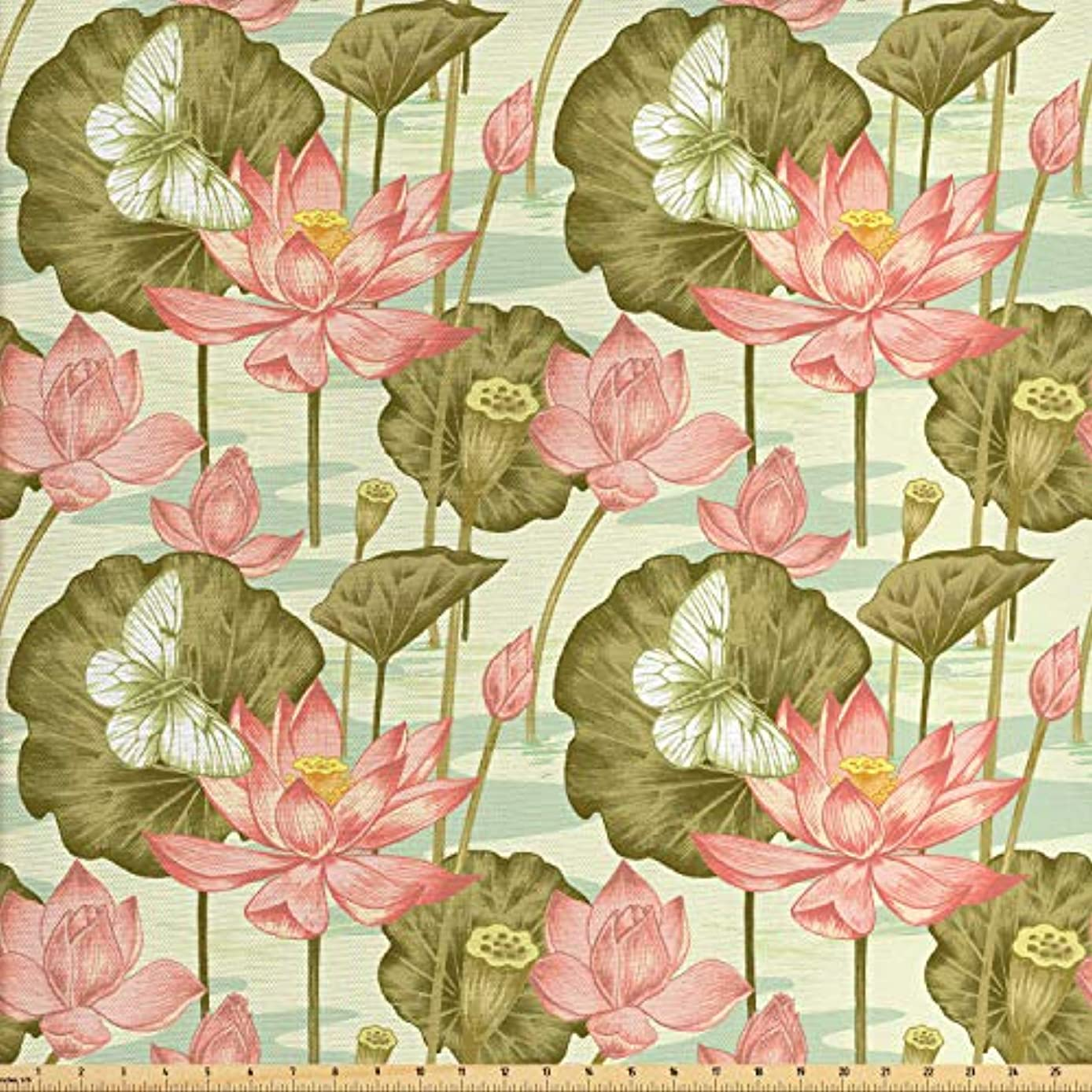 Lunarable Japanese Fabric by The Yard, Exotic Vintage Lotus Flower Buds Stems in Pond Flying Butterfly Oriental Style, Decorative Fabric for Upholstery and Home Accents, 3 Yards, Multicolor