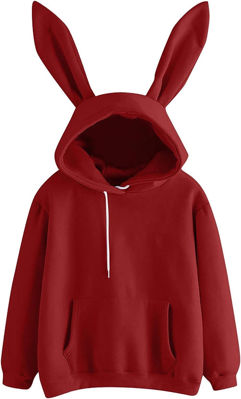 Jaqqra Crewneck Sweatshirts for Women, Women's Casual Long Sleeve Rabbit Hoody Pullover Top Shirts Blouse for Teen Girls