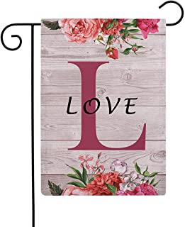 """Flowers Small Garden Flags with Monogram Letter L"""" Love"""" Double Sided Burlap Garden Flags 12.5×18 Inch for House Yard Pati..."""