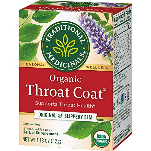 Pack of 1 x Traditional Medicinals Organic Throat Coat Herbal Tea - Caffeine Free - 16 Bags