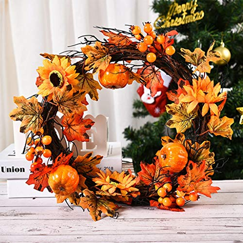 KONAVATY Halloween Decorations 2PC Autumn Maple Leaf Berry Artificial Garland Front Door Wreath Festive Ornaments (15.76 inch)
