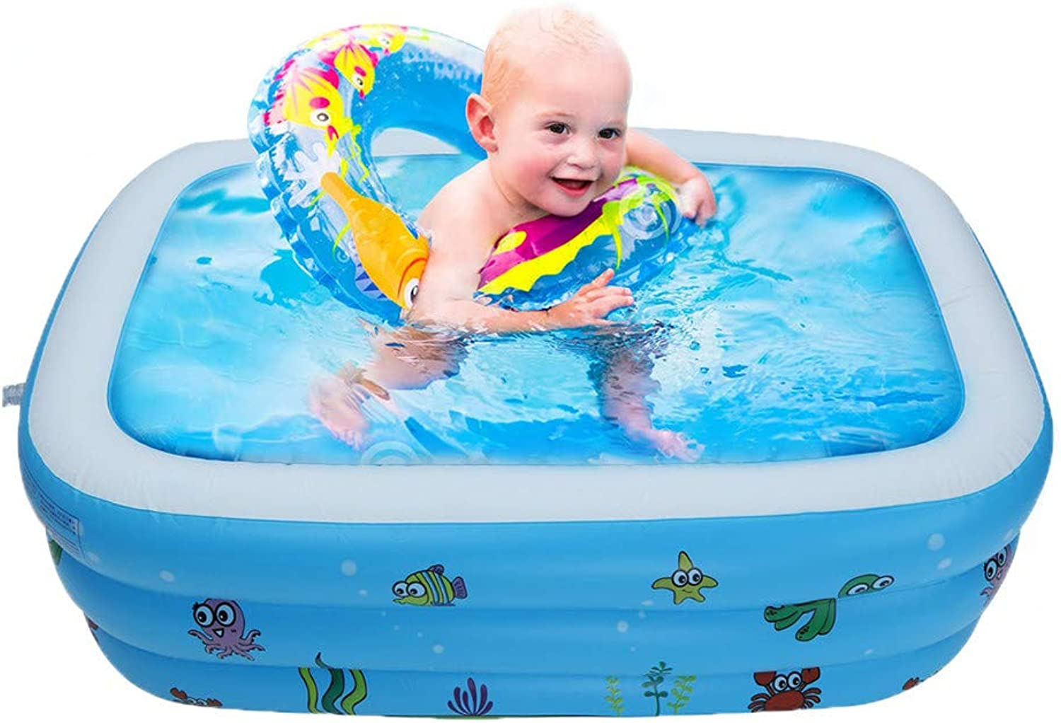 Chezaa Inflatable Family Swimming Pool, Outdoor Squirt & Splash Play Water Fun in Summer for Toddlers Kids, Small Medium Large, bluee (Rectangular Ocean Theme) (A)