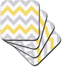3dRose cst_179795_3 Yellow and Grey Chevron Zig Zag Pattern-Gray White Zigzag Stripes-Ceramic Tile Coasters, Set of 4