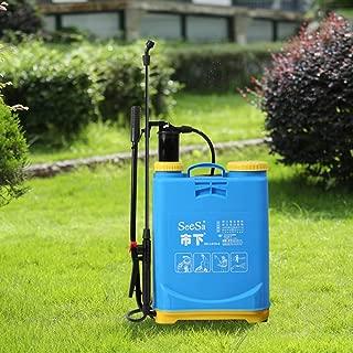 Pressure sprayer plant sprayer backpack sprayer 15 liter ergonomic rear part pump rod portable pump sprayer pressure relief valve PVC hose blue