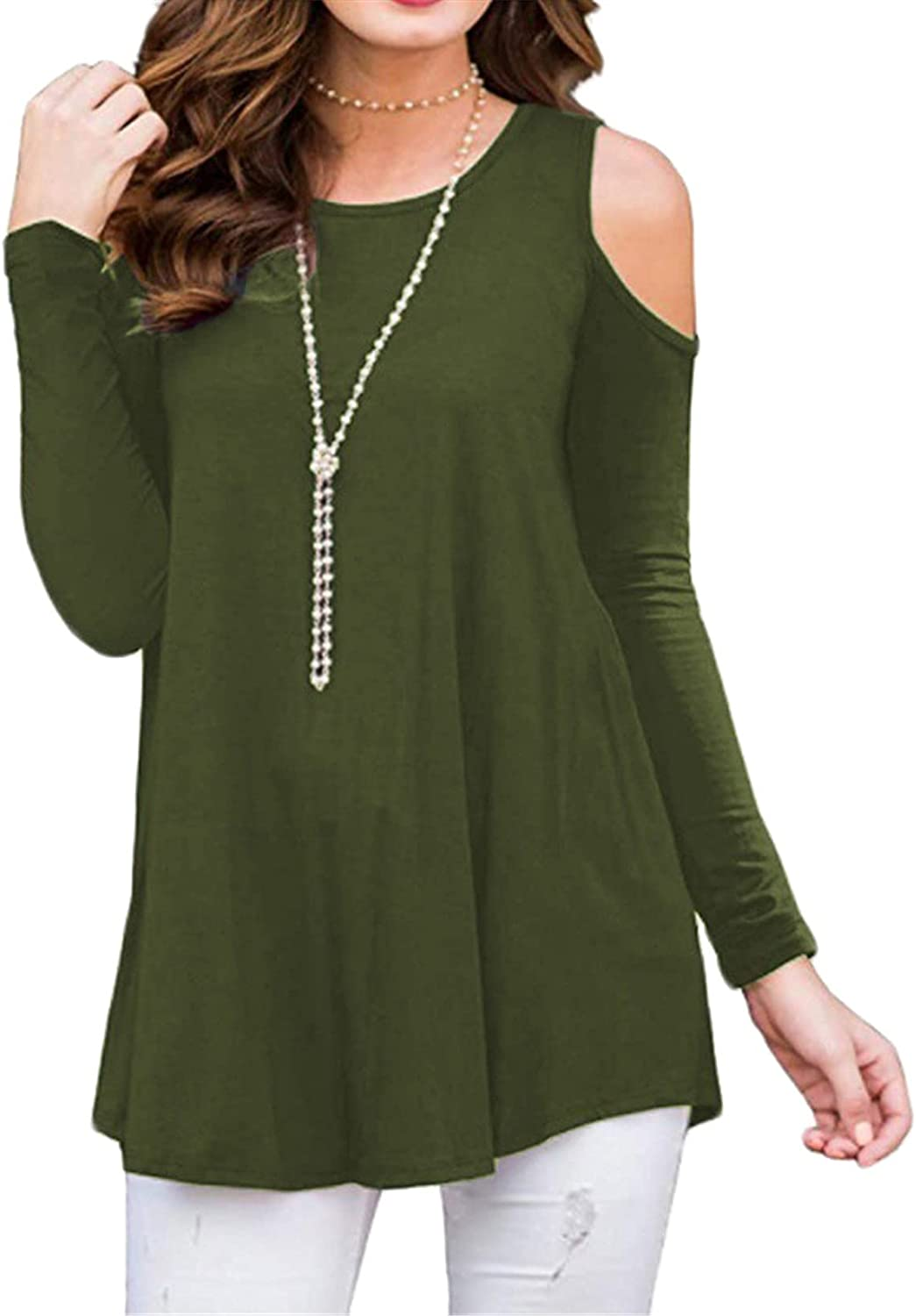 Andongnywell Women's Cold Shoulder Casual Solid T-Shirt Front Tunic Blouse Tops Long Sleeve Solid Off Shoulder T-Shirt