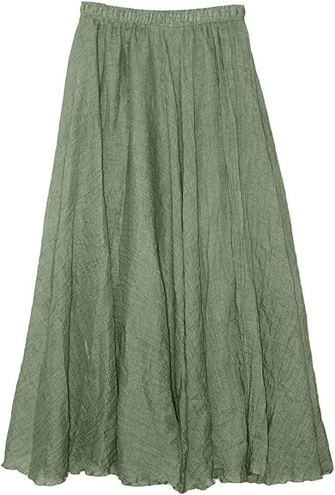 BFSAUHA Women Summer Pure Color Bohemian Linen Breathable Skirt Beach Dress