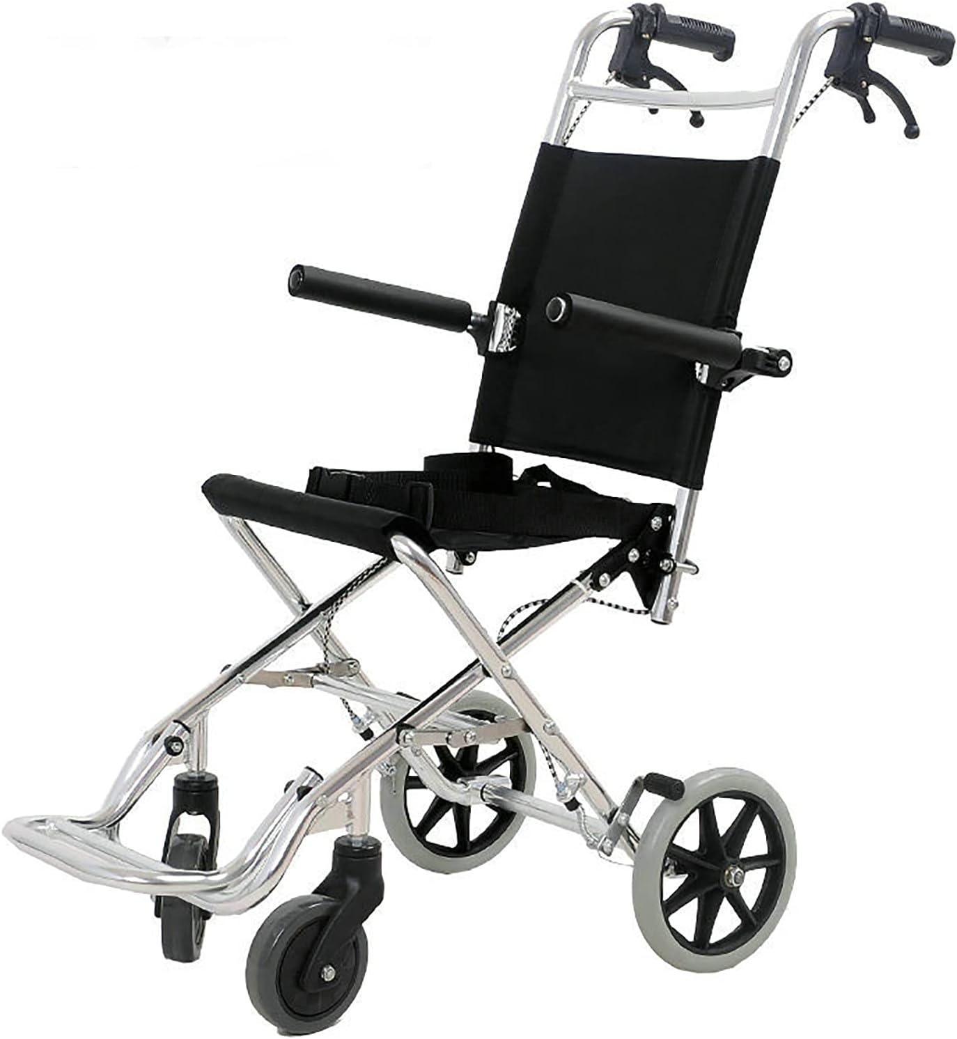 YDYBY Silla De Ruedas De Tránsito para Ancianos Y Minusválidos, Plegable Aluminio Reposapiés Y Reposabrazos Wheelchair Abatibles Asiento Ultraligera Frenos En Manetas Negro