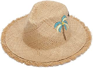 SHENTIANWEI Ruffled Raffa Straw Hat Lady Sun Hat Handmade Embroidered Beach Hat Travel Hat (Color : Wheat-Colored)