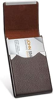 Sooez Business Card Holder for Men, PU Leather Business Card Case Name Card Holder Slim Business Card Carrier Metal Pocket Card Holder with Magnetic Shut, Brown