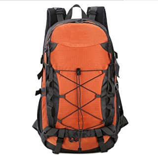 SHYPwM Outdoor Backpack Waterproof Nylon Rucksack Men Women Outdoor Sport Trekking Rucksack Large Daypack(50L) (Color : Orange)