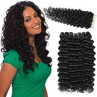 LVY pelo natural humano Extensiones de cabello pelo rizado profundo natural brasileño 3 bundle pelo natural humano con parte libre de cierre 25 30 35+25CM