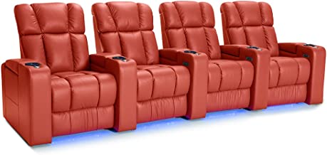 Palliser Collingwood Leather Home Theater Seating Power Recline - (Row of 4, Red)