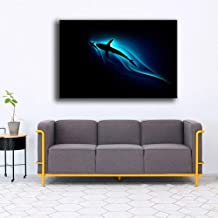WPFZH Wall Art Frame Cool Shark Blue Water Shadow Painting Living Room Print Animal Abstract Poster Decor40x60cm