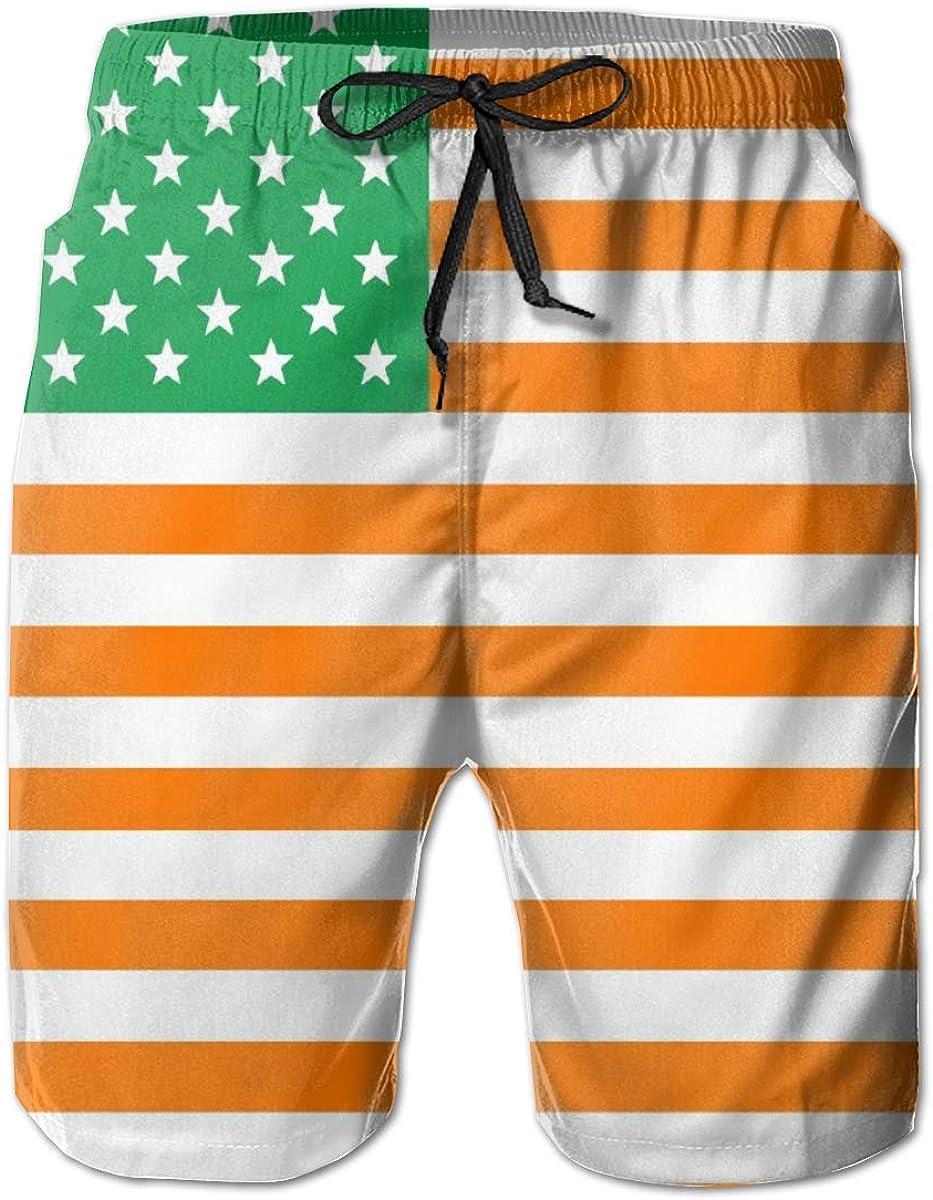 LI-YULU Irish American Flag Men's Printing Swim Trunks Casual Beach Board Shorts