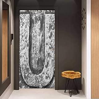 Onefzc Glass Door Sticker Decals Letter U Uppercase U Character in Grey Tones Retro Sign Coin Style Industrial Background Door Mural Free Sticker W32 x H80 Black Grey