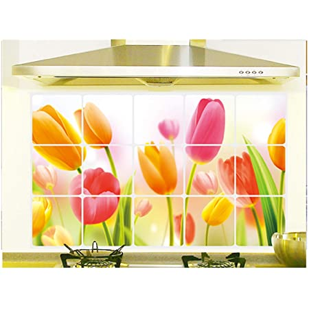 Jaamso Royals Removable Kitchen Oil Proof Decal Sticker Heat-Resistant Waterproof Tile Sticker Aluminium Foil Wall Sticker (Thickening of Hearth Tulip) (45 cm *75 cm)