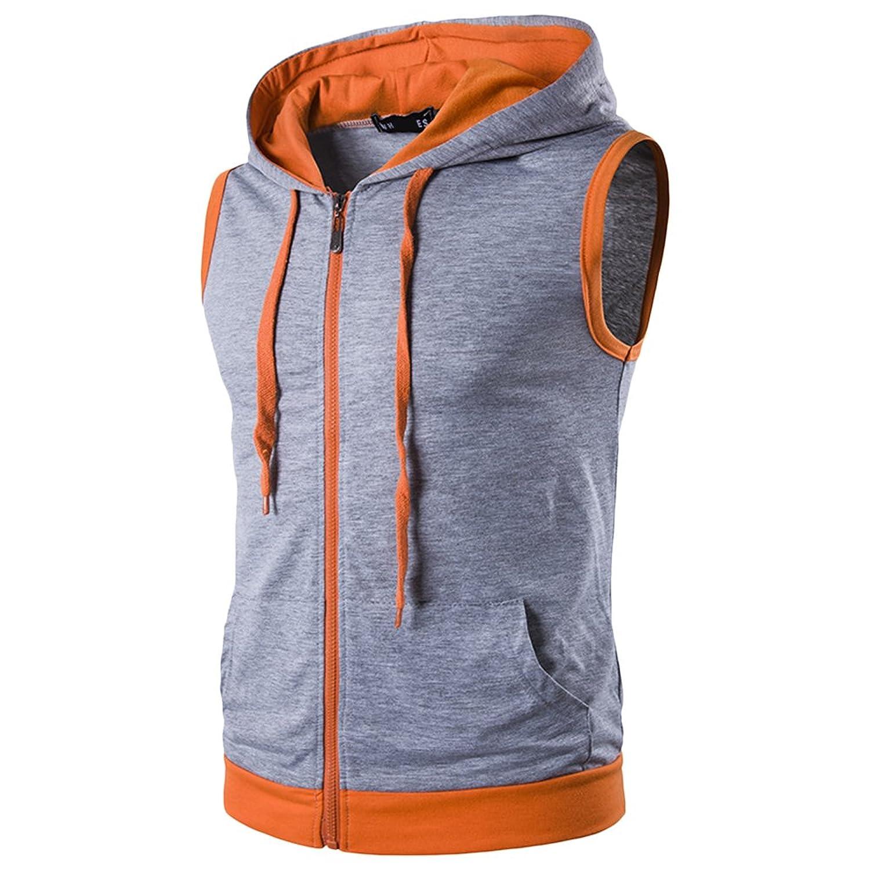 Zhhlaixing スリムフィット Men's Summer Lightweight Sleeveless Drawstring Sweatshirt Hoodies Top