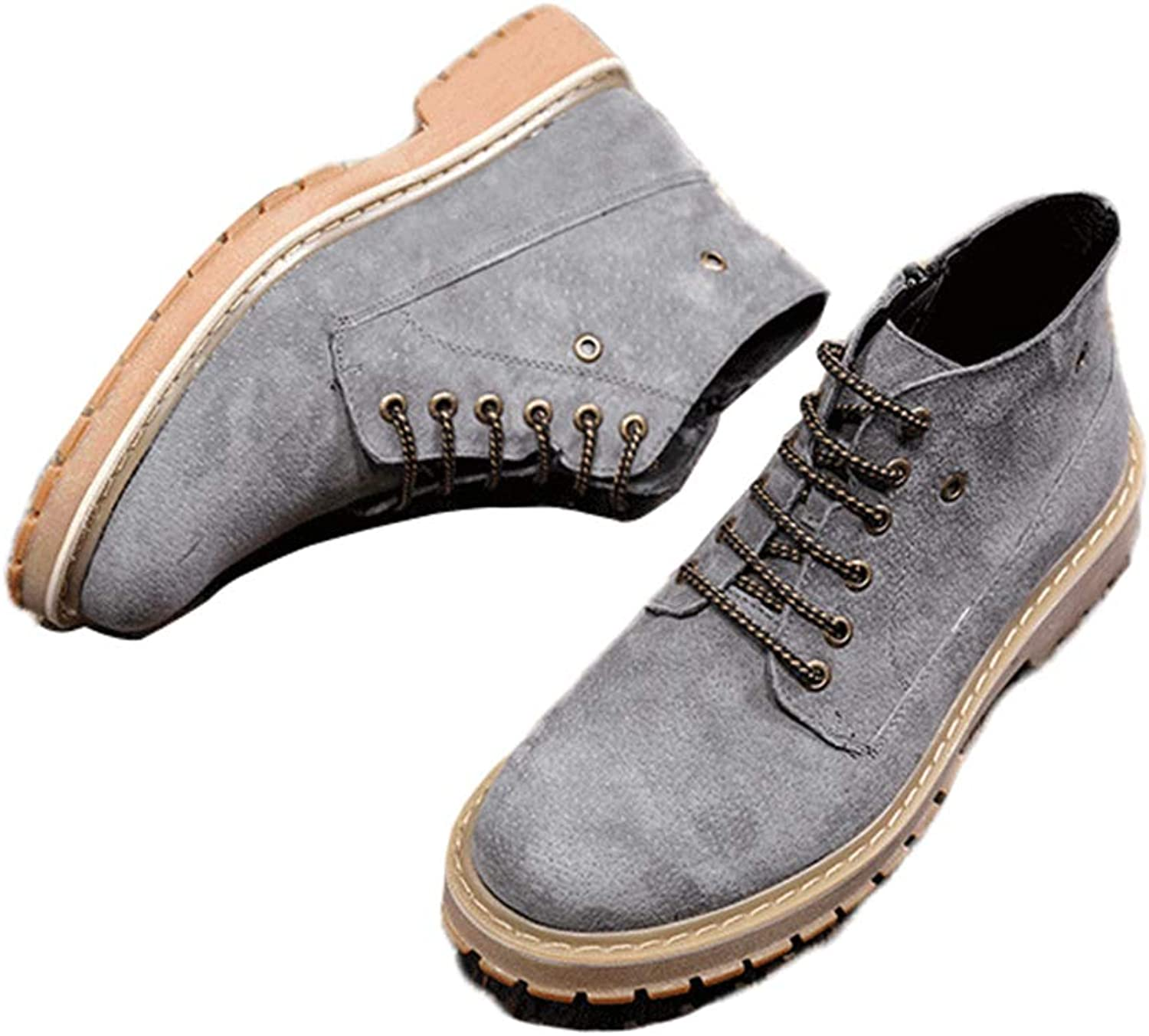 Phil Betty Mens Booties Non-Slip Round-Toe Zipper Casual Comfortable Martin Boots