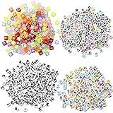 milaosk 700 Piezas Letras para Pulseras Abalorios Letras Cuadradas de Colores Cuentas Alfabeto para Pulseras Perlas para Pulseras Collares DIY Manualidades (6*6 mm)