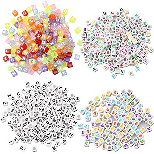 Mox 700 Piezas Letras para Pulseras Abalorios Letras Cuadradas de Colores Cuentas Alfabeto para Pulseras Perlas para Pulseras Collares DIY Manualidades (6*6 mm)