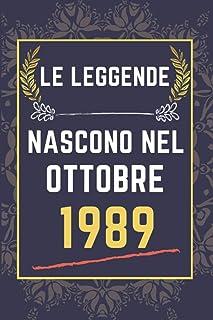 Le leggende nascono nel ottobre 1989: quaderno a righe || Regalo di compleanno per una persona nata in ottobre || Regalo d...