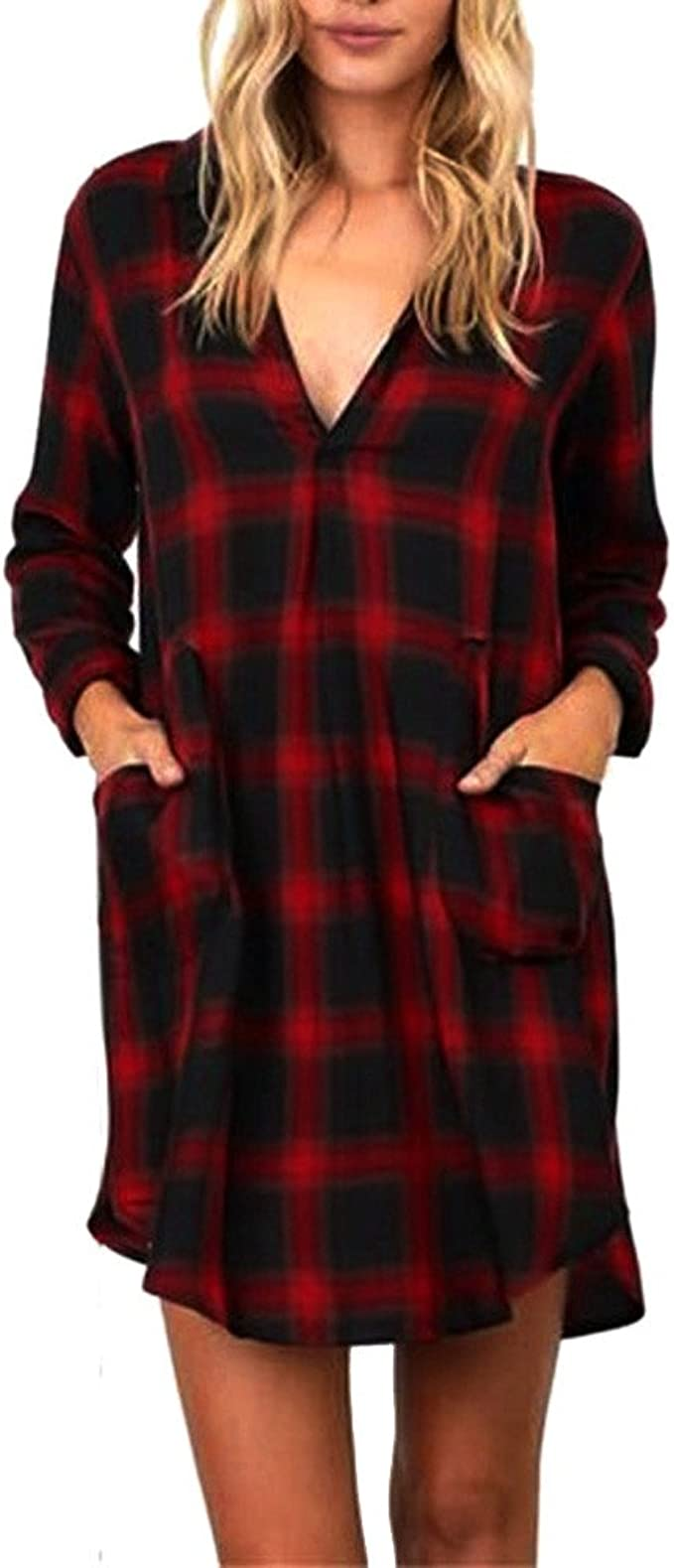 Damen Kleid FORH Lady Slim Karierte Kleid Elegant Langarmshirt ...