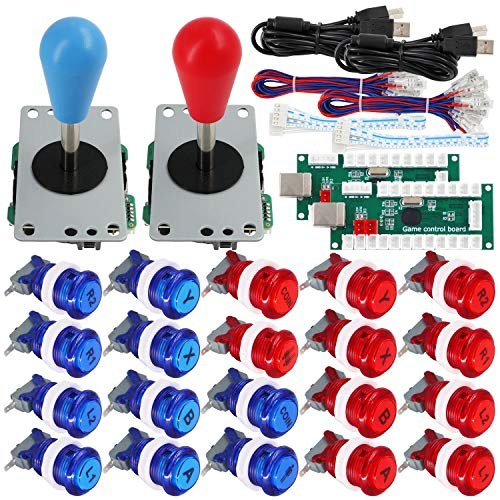 SJ@JX Arcade Game 2 Player Controller DIY Kit Buttons with Logo Coin X Y Start Select 8 Way Joystick USB Encoder for PC MAME Raspberry Pi