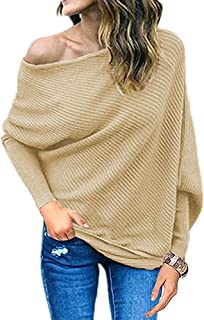 Qearal Womens Off Shoulder Loose Pullover Shirt Batwing Sleeve Knit Jumper Oversized Tunic Tops