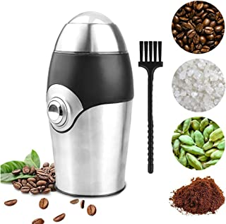 Coffee Grinder Electric Spice Herb Grinder by RGTOPONE Compact & Small Simple One Touch Noiseless 150W Stainless Steel Blade Adjustable Grinding Powerful for Nut Pepper Mill Grains with Cleaning Brush