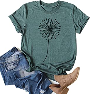 Women's Dandelion T-Shirts Funny Cute Blouse for Girl Short Sleeve Graphic Tees Tops for Jounior Green 5XL