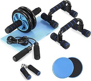 TOM SHOO 6-in-1 buikspier-set met push-up-staaf, glijschijven, springtouw en kniebeschermer, krachttraining, fitnessappara...