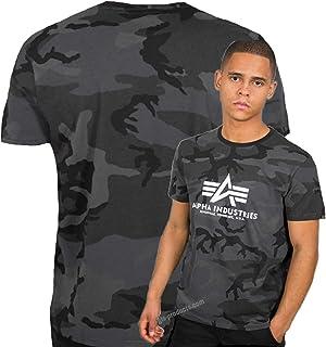 ALPHA INDUSTRIES Basic T 100501C Camo Black Logo - Camiseta de manga corta