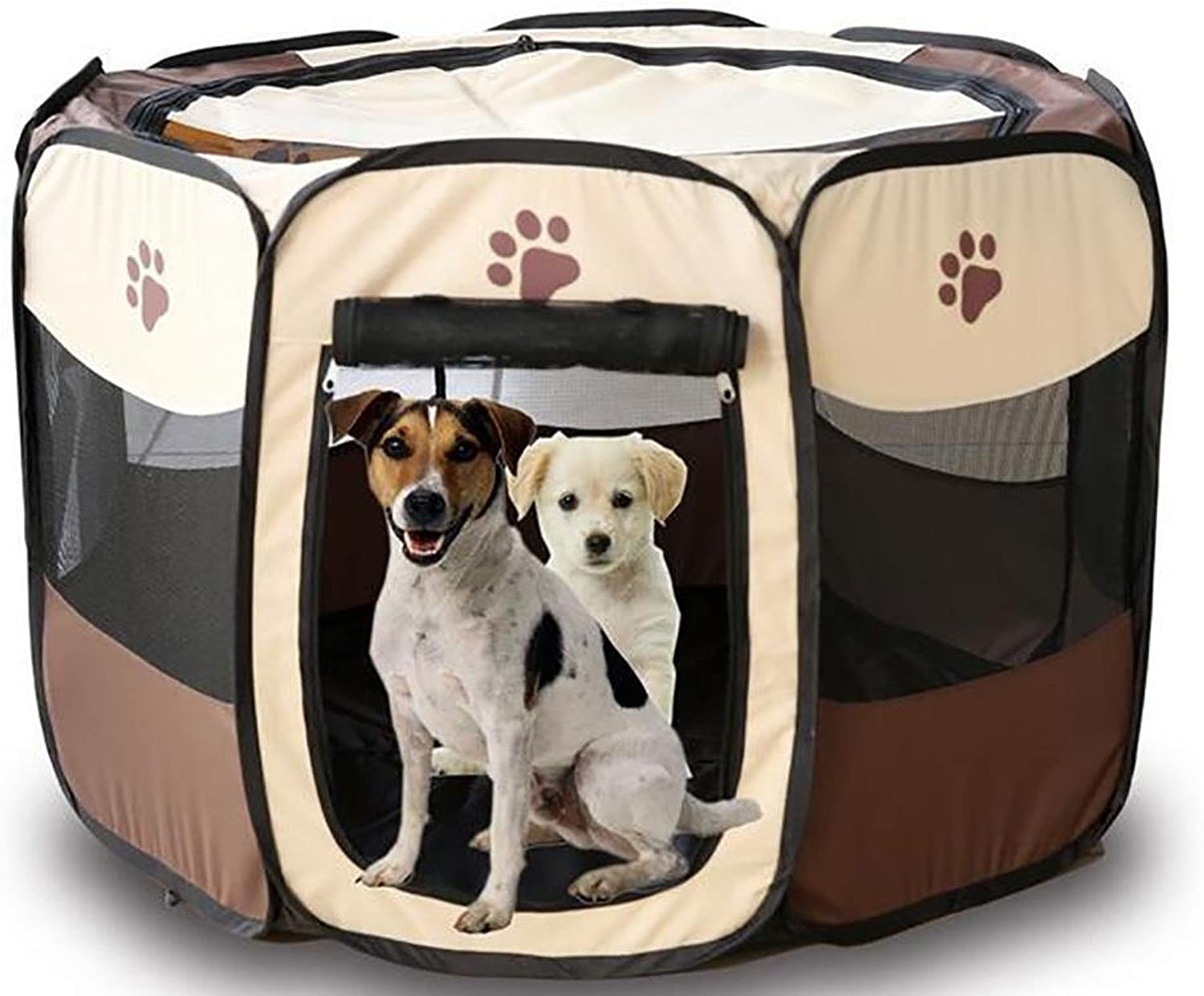 Pet Myyxt Play Pen Portable Foldable Puppy Fences Tent Easy to assemble,Brown