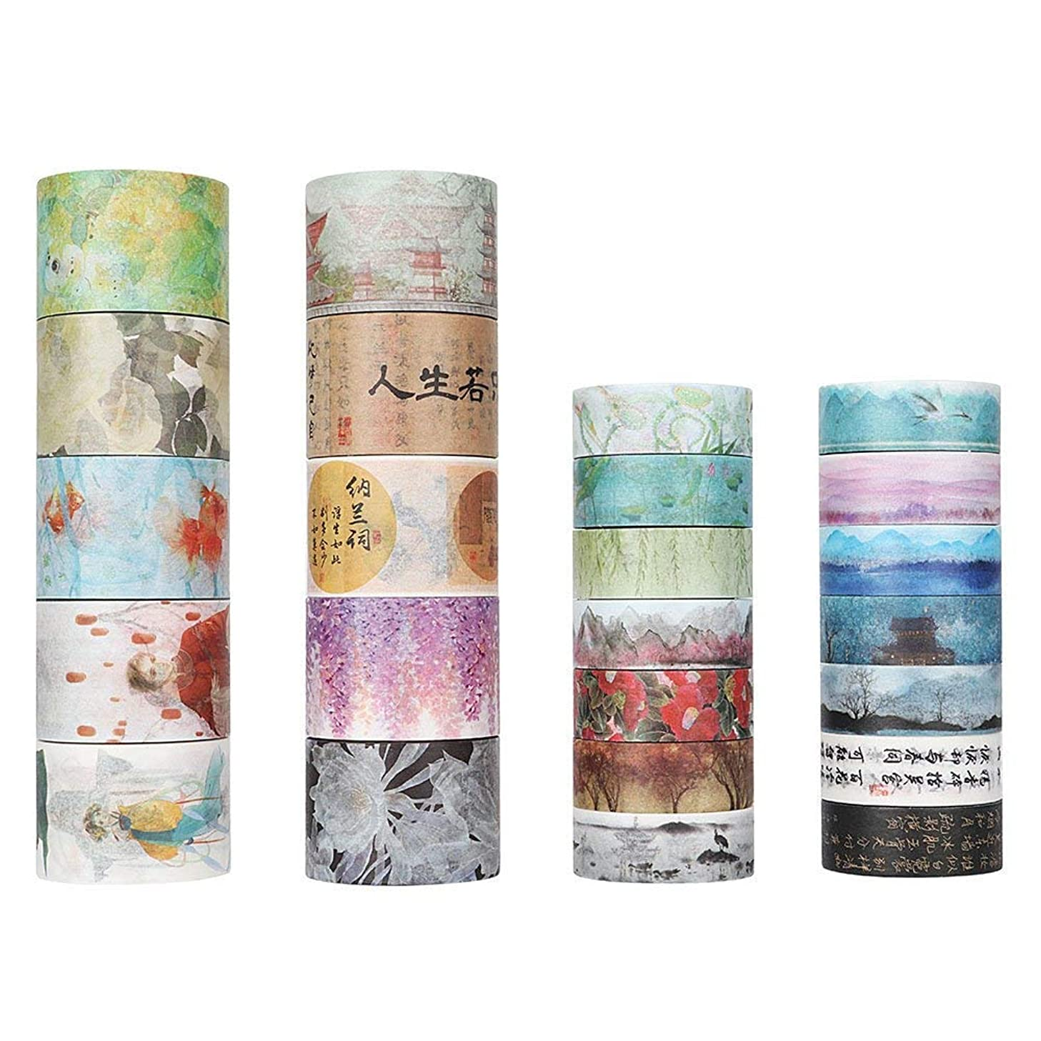 Molshine 24 Sets Decorative Japanese Washi Masking Adhesive Sticky Paper Tape –Chinese Classical Poetry Series Collection, (10 Rolls 30mm X 5m, 14 Rolls 15mm X 7m) for Journals, Daily Planners DIY