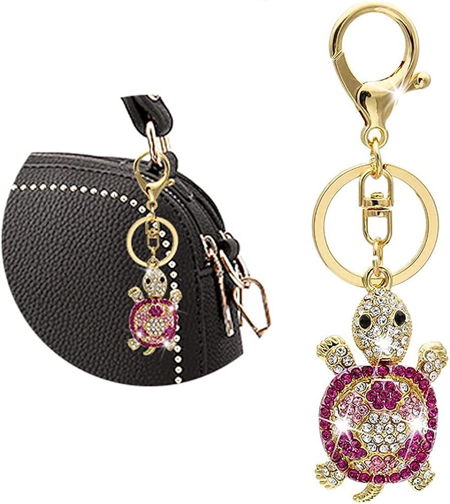 Sparkling Tortoise Keychain, Cute Animal Cartoon Wallet Pendant Ornaments Motorcycle Keychain Rhinestone Pink Diamond Bling Car Accessories