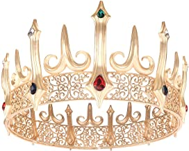 Eseres Gold King Crown for Men Adult's Costume Crowns Birthday Cake Topper