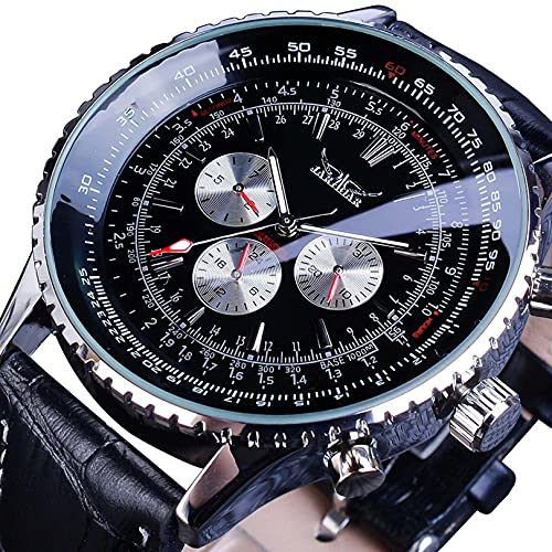 Excellent Reloj mecánico automático para hombre, calendario analógico, casual, acero inoxidable/correa de piel, esfera redonda, color negro