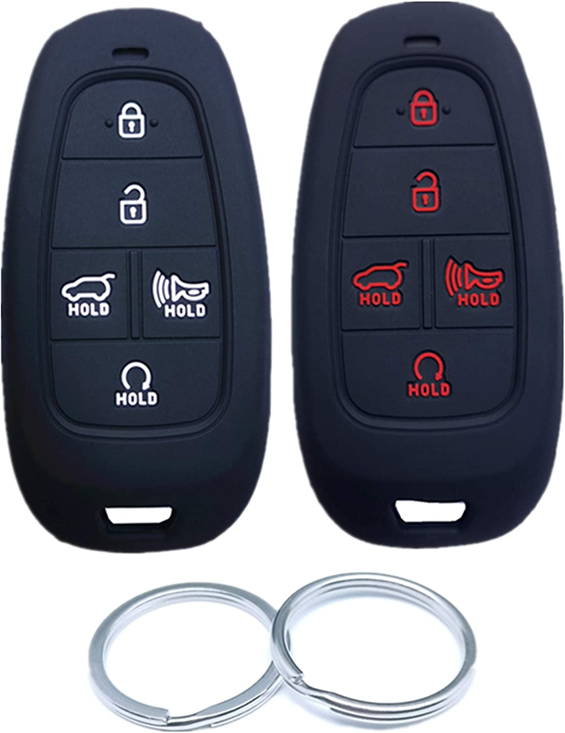 Under blast sales RUNZUIE 2Pcs 5 Buttons Overseas parallel import regular item Silicone Remote Shell Cover Fob Smart Key