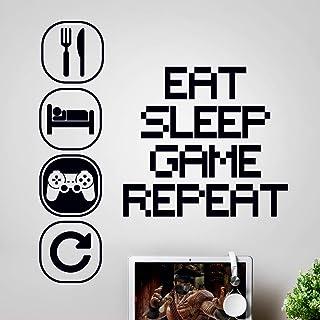 Sticker mural art gaming garçons chambre stickers Manger sommeil jeu répéter chambre accessoires garçon décor joueur decal...