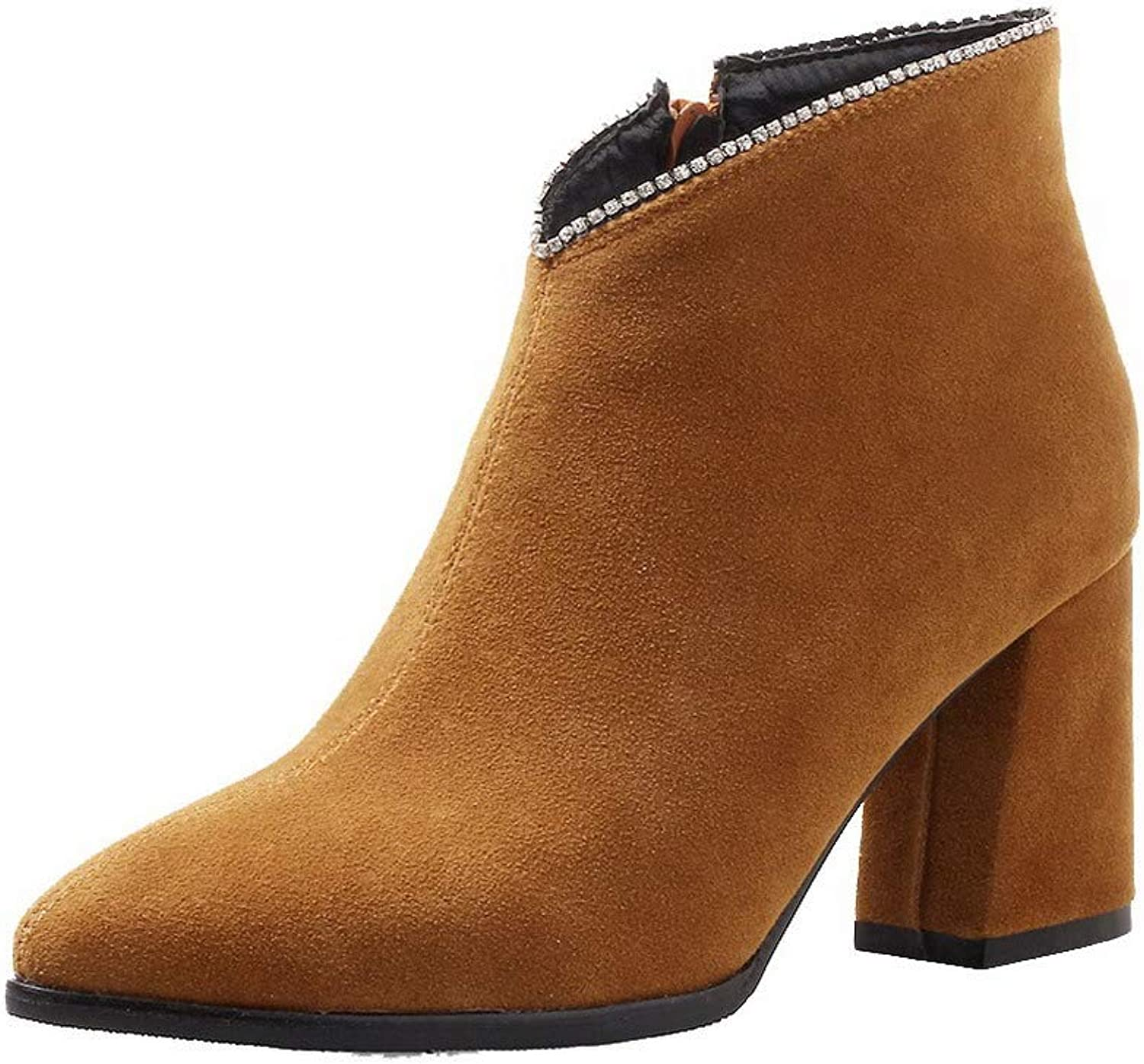 AmoonyFashion Women's Ankle-High Solid Zipper Pointed-Toe High-Heels Boots, BUSXT114773