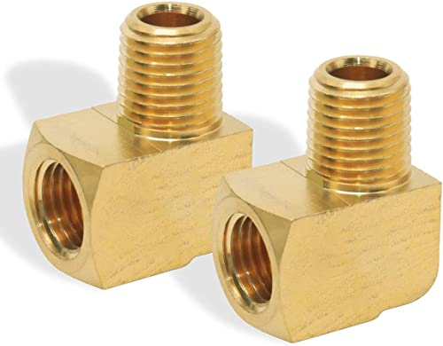 """Boeray 2pcs 3/8"""" NPT Male Pipe and 3/8"""" NPT Female 90 Degree Barstock Street Elbow,Brass Pipe fitting"""