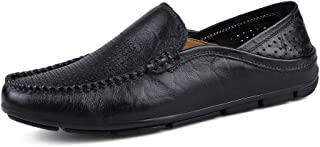Men's Fashion Moccasins Wave Sole Voiced & Tiptop Light Slip On Driving Loafer casual shoes (Color : Black Hollow, Size : 43 EU)