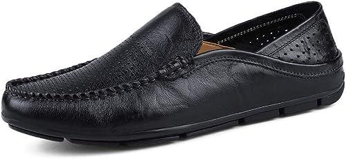 SRY-Chaussures de Mode Personnalité Masculine Mocassins Wave Sole Mocassins Souples et Super légers à Enfiler (Couleur   noir HolFaible, Taille   37 EU)