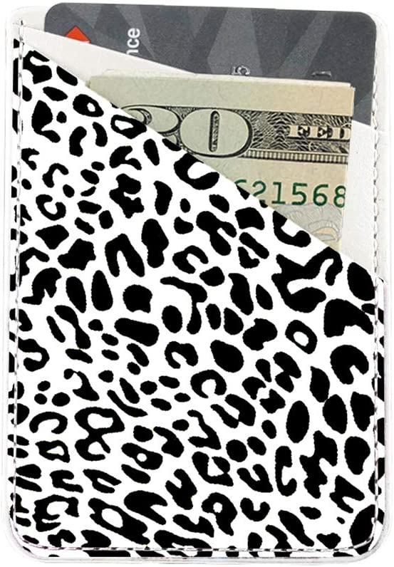 Black Leopard Adhesive Cell Phone Credit Card Stick On Wallet Holder Phone Pocket Pouch Sleeves for iPhone,Samsung Android and All Smartphones