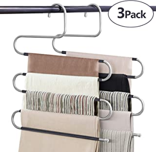 VIS'V Pants Hangers, Multilayer Pants Hangers Trouser Hangers S Shaped Non Slip Stainless Steel Metal Hangers Space Saving Closet Storage for Trousers Jeans Shirt Scarf Tie - 3 Packs