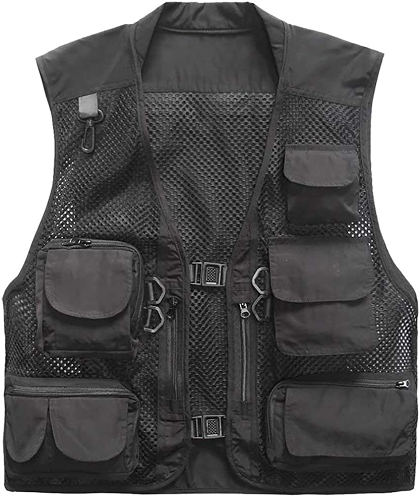 eds Outdoor Mesh Quick-Dry Fly Fishing Vest Multi Pockets Vest Travel Hunting Waistcoat Photography Jackets,Black,Asia,XXL/US,L