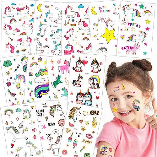Tattoo Kinder,Jusduit Einhorn Meerjungfrau Dinosaurier Tier Weltraum Party Tattoos Set,Temporäre Tattoos Kinder Aufkleber für Mädchen Kindergeburtstag Mitgebsel Party (Süß Einhorn)
